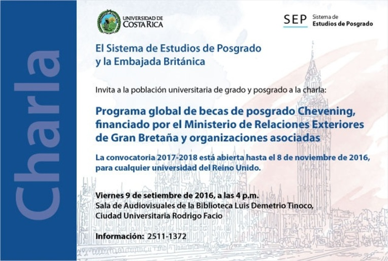 Calendario de actividades ucr programa global de becas de posgrado chevening financiado por for Secretaria de relaciones exteriores becas
