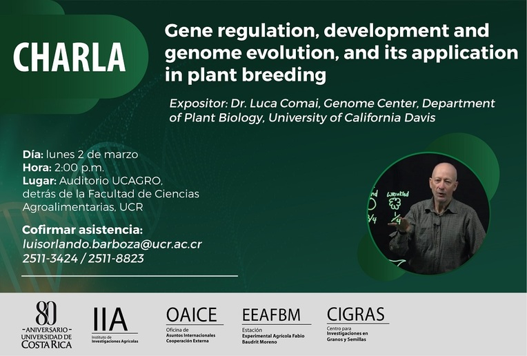 Charla: Gene regulation, development and genome evolution, and its application in plant breeding
