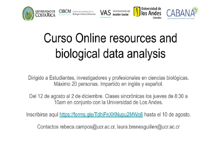 Inscripción: Online resources and biological data analysis